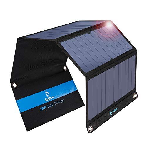 BigBlue 28W Cargador Solar Portátil, 2 Puertos USB y 4 Paneles...