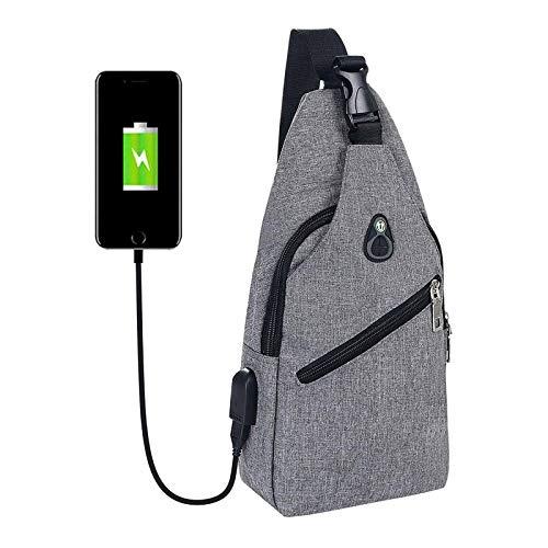 flintronic Sling Bag, Bolsa de Pecho con Puerto de Carga USB y Puerto para Auriculares,...