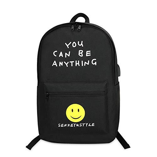 FANDARE Unisexo Mochila, Hombres/Mujeres Bolsos Escolares, Adolescente Daypack con USB, Viaje Mochilas Tipo Casual Poliéster Negro a