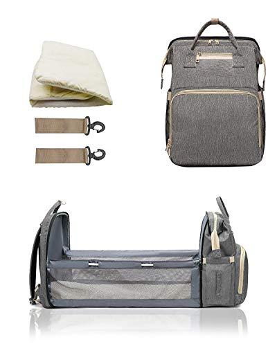 Milnsirk Mochilas Para Pañales, USB Multifuncional Impermeable Grande Bolsa de Cambio de Bebé Bolsa de Viaje Casual Cama Plegable con Colchón Gris