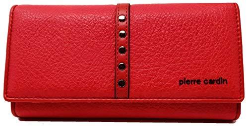 PIERRE CARDIN Cartera para mujer, bonita, grande, espaciosa, piel, rfid, regalo, cartera con monedero, billetera para dinero, cartera para niña (rojo)