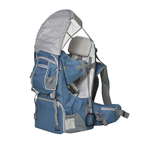 HOMCOM Mochila Portabebés Plegable Ajustable Portador de Bebé Ergonómica Manos Libres 6-36 Meses con Protector de Lluvia y Sol Carga 18 kg Gris y Azul