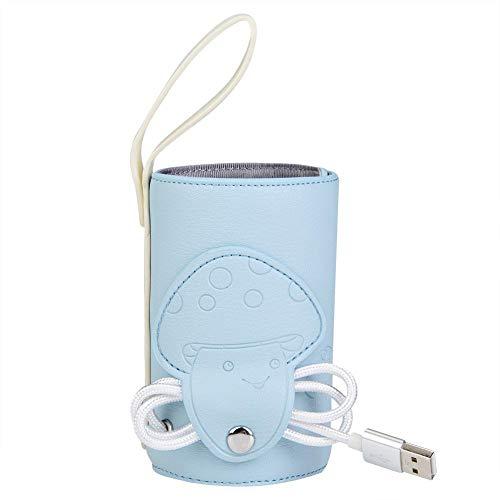 Calentador de biberones USB, Calentador de biberones USB Plegable portátil Calentador de termostato con Aislamiento Cubierta de Almacenamiento de Leche para el hogar y el automóvil(Azul)