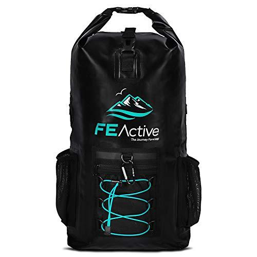FE Active Mochila Impermeable Dry Bag - Mochila de Senderismo Eco 20L Bolsa Estanca para Acampar y Equipo de Pesca. Bolsa de Viaje, Bolsa de Playa, Pesca, Kayak y Navegación | Diseñada en California