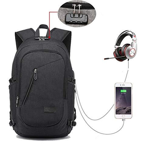 COPARK Mochila para Portatil 15.6 Pulgadas Impermeable Antirrobo, Trabajo Viaje Multiusos Daypacks con Puerto de Carga USB Hombre Mujer Estudiante (Negro)