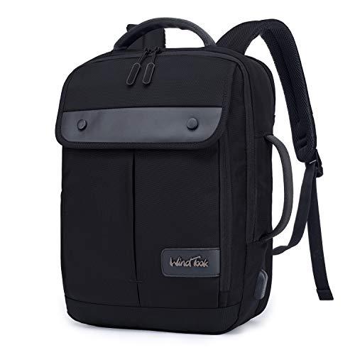 Wind Took Mochila Ordenador portatil 15.6 Pulgadas Mochila portátil con Puerto de Carga USB Mochila Hombre Trabajo Mochila de Negocios Adecuado para Viajes Escolares Negro
