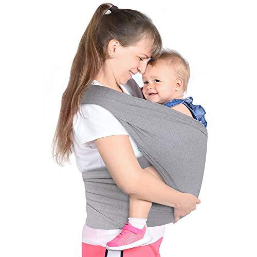 Lictin Fular Portabebés- Portabebés para Recién Portador de Bebé Elástico Pañuelo Unisex Ajustable Portabebes Hasta 16KG (Gris)