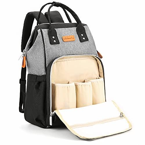 Mochila para Madre y bebé, Mochila para pañales de Gran Capacidad (con Puerto USB), Adecuada para Viajes de Madre Gris Oscuro