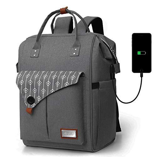 RJEU Mochila Mujer para Portátil Mochilas Escolares Juveniles con Puerto USB Resistente al Agua 35L