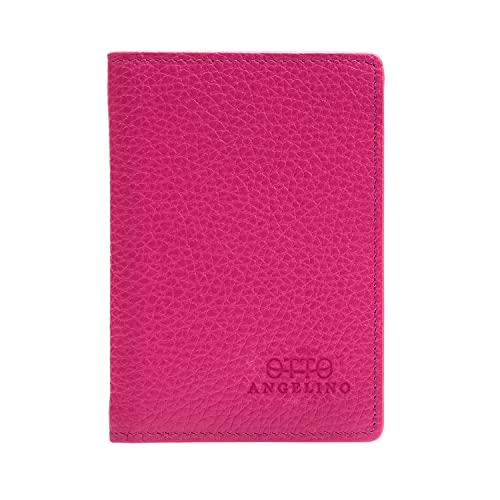 Otto Angelino Cartera de Cuero con Plegado Doble - Tarjetero para Tarjetas de Crédito con Estilo Pasaporte para la Identificación, Tarjetas de Banco y de Crédito, Dinero - Bloqueo de RFID