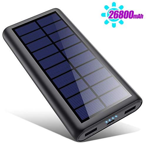 SWEYE Cargador Solar 26800mAh,【2020 Nueva Versión】Batería Externa Solar de Carga Rápida con 2 Puertos USB Powerbank con Tecnología de Detección Automática Para Smartphones, Tabletas y Dispositivos USB
