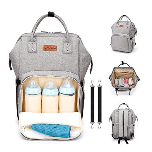 iNeibo Mochila para pañales y biberones, bolsa de pañales, resistente e impermeable con gran abertura. gris