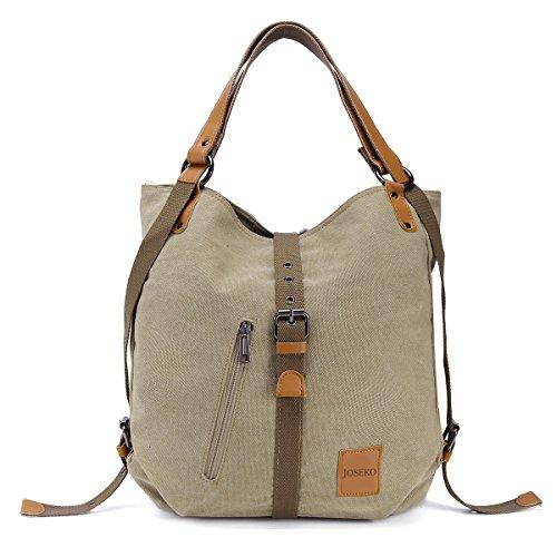 Bolso de hombro JOSEKO de lona Mochila para mujer, bolso convertible de mochila multifuncional para...