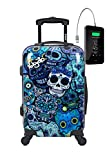 TOKYOTO - Maleta de Cabina Equipaje de Mano, Blue Skulls con Cargador USB,...