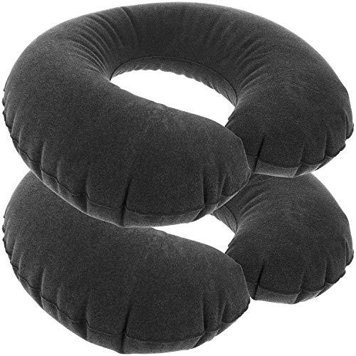 com-four® 2X Almohada de Apoyo para el Cuello Inflable - Almohada para el Cuello para el Coche, el Tren y el avión (2 Piezas - Negro)