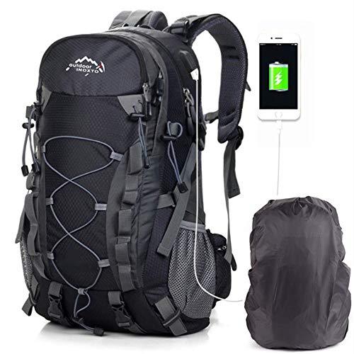 Mochilas De Marcha, Mochila De Senderismo Trekking Mujer Hombre Resistente Al Agua 40L litros Al Aire Libre Ligera Gran Capacidad para Viajes Montañismo Escalada USB Backpack Negro