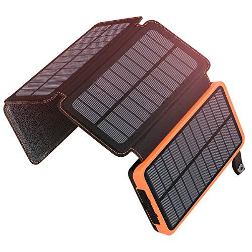 A ADDTOP Cargador Solar 25000mAh Power Bank Portátil con 2 Ports 2.1A Output Batería Externa Impermeable con 4 Paneles Solar para Smartphones Tabletas