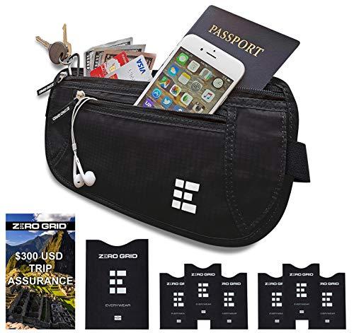 Cinturón de Viaje para Dinero con Bloqueo RFID - Cartera para Documentos y Portapasaporte...