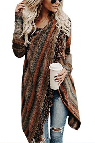 Zilcremo Mujer Frente Abierto Borla Cardigan Abrigos Suéter Poncho De Punto Suéteres Top Orange S