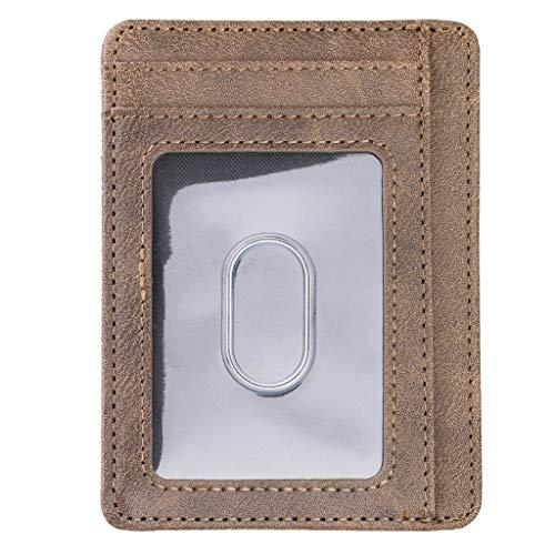 PING Ultra Slim RFID Bloqueo Minimalista Cartera Tarjeta de Visita Caso Super Delgado Hombres Cuero Banco ID Tarjetas de Crédito Titulares Moda Unisex Porte Carte Paquete, Lbn3,