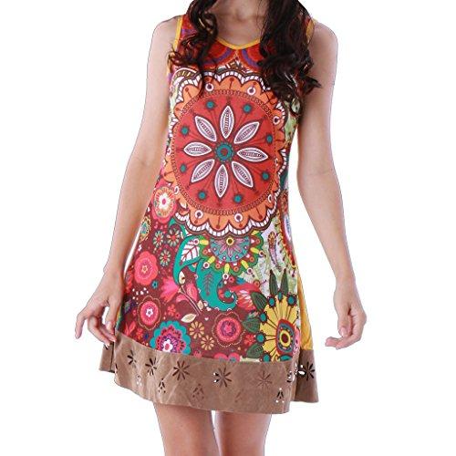 Panasiam - Vestido colorido de algodón en tallas S, M, L y XL, existencias limitadas (producto de boutique) marrón M