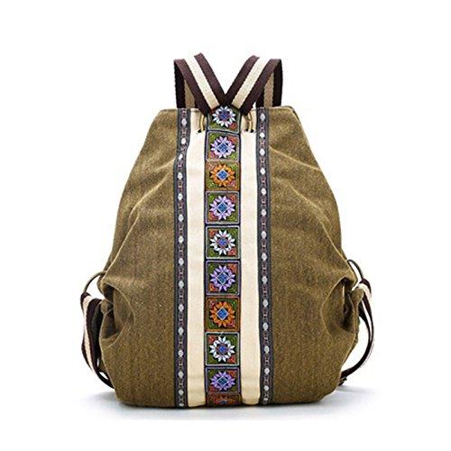 REFURBISHHOUSE Mochila de Lienzo Etnico Tribal para Mujer Bolsa de Hombro Hippie Mochila...