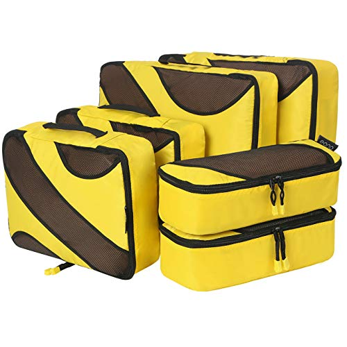 Amazon Brand - Eono Organizadores de Viaje Cubos de Embalaje Organizadores para Maletas Travel Packing Cubes Equipaje de Viaje Organizadores Organizadores para el Equipaje - Amarillo, 6-Pcs