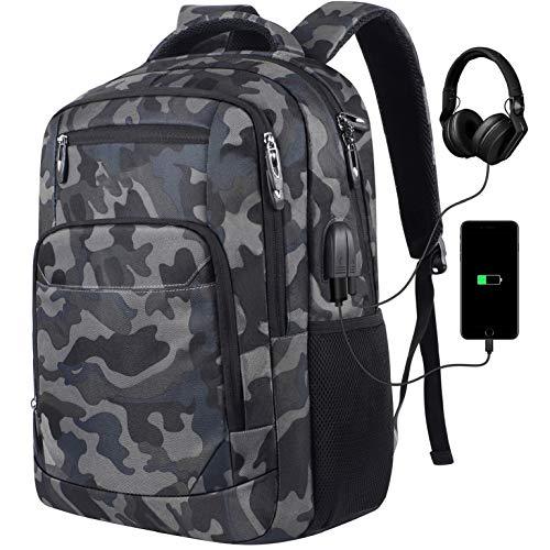 Mochila para ordenador portátil, mochila escolar con puerto de carga USB, para viajes de...
