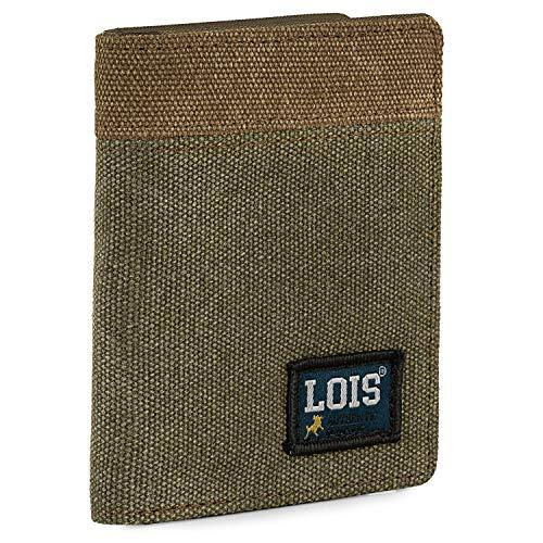 Lois - Cartera de Hombre con Monedero Billetera Juvenil de Lona. Muchos Compartimentos. Protección RFID. 203718, Color Kaki