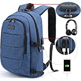 Tzowla Business Laptop mochila antirrobo universidad mochila con puerto de carga USB y cerradura 15.6 pulgadas mochilas de ordenador para mujeres hombres, casual senderismo viaje Daypack-azul