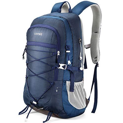 HOMIEE Mochila de Senderismo de 45L, Bolsa de Nylon para Caminatas con Bolsillo para computadora portátil, Adecuada para Caminatas, excursiones, Deportes al Aire Libre, Estilo único Impermeable(Azul)