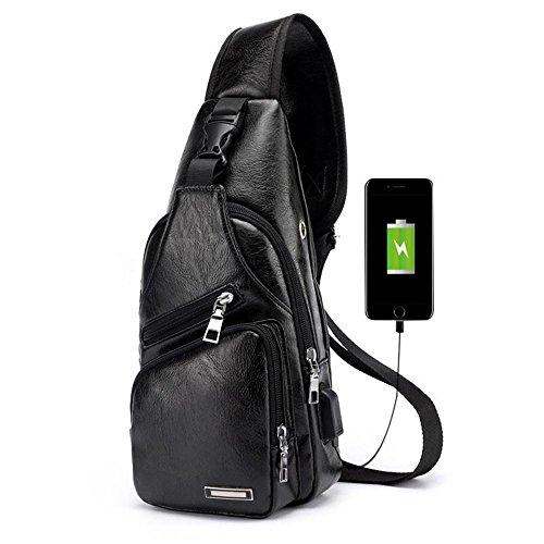 Bolso de Pecho PAWACA. Con orificio para Auriculares y Puerto USB para que puedas disfrutar de la música y cargar tu teléfono