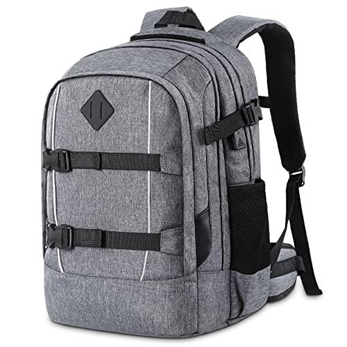 YIORMIOR Mochila para hombre y mujer, mochila escolar para niños, niñas, adolescentes, escuela, ordenador portátil, mochila para portátil de 15,6 pulgadas, mochila de negocios, con puerto de carga USB