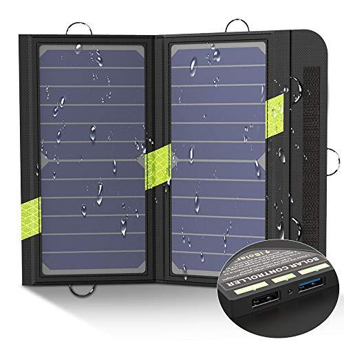 X-DRAGON Cargador Panel Solar 14W (Dual USB Puertos, Inteligente IC, A Prueba De Agua, En Acero Inoxidable) Placa Batería Plegable para Móviles, Tablets y Otros Dispositivos
