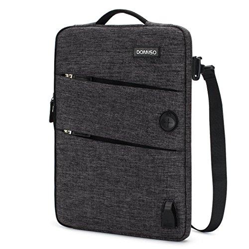 DOMISO 10,1-10,5 Pulgadas Funda Protectora con Puerto de Carga USB 3ways Bolso Bandolera para Ordenador Portátil / Tablet / 9.7' iPad Pro / 10.1' Lenovo Tab 4 Plus / ASUS / Acer / HP / Toshiba , Negro