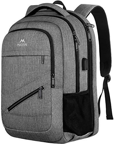 MATEIN - Mochila de viaje para ordenador portátil, mochila porta PC con cargador USB, mochila para PC de 17 pulgadas, mochila antirrobo para hombre y mujer y escuela - gris