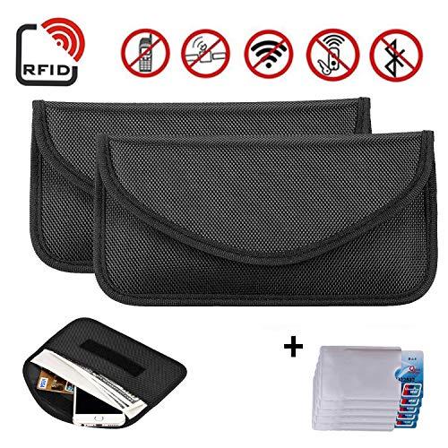 Newseego Bolsa 2X para señal RFID | Bolso antirrobo RFID Faraday con Tarjeta de crédito RFID 5X Gratis para el Bloqueo de la Llave de Bolsillo para el automóvil, Faraday RFID Key Fob Bag - (Negro)