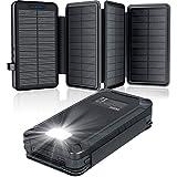 Cargador Solar 26800mAh, Elzle Power Bank Solar con 2 Salidas USB y 1 Entrada...
