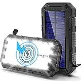 Cargador Solar Movil 26800mAh, [QI Carga Inalambrica] Bateria Externa Movil, [Linterna de...