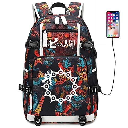 YOYOSHome - Mochila escolar con puerto de carga USB con diseño de anime y los siete pecados mortales