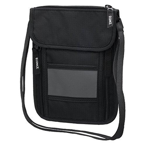 ECENCE Riñonera con bloqueo RFID, riñonera con protección NFC, bolsa de bandolera para mujeres y hombres, impermeable, seguridad para pasaportes de viajes, tarjetas de crédito, bolsa de viaje 11030407