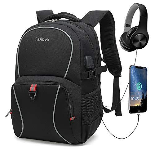 Mochila para portátil, mochila escolar con puerto de carga USB y puerto para auriculares