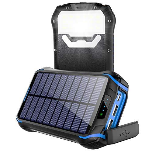 Soluser Cargador Solar 26800mAh, Solar Power Bank con 3 Puertos USB, Batería Externa Solar 18 LED Linterna con Tecnología de Detección Automática para Smartphones, Tabletas y Dispositivos USB