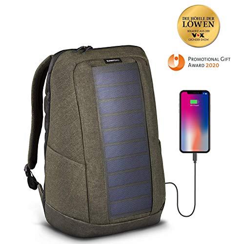 SunnyBAG Iconic Mochilla Solar para Laptop, Panel Solar de 7 vatios, Cargador de Smartphones (Samsung, iPhone, etc.), Tablet, smartwatch + USB y Dual-USB-Port (Olive Brown)