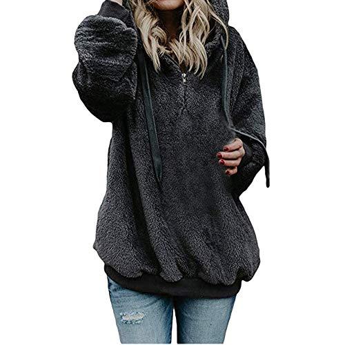Mujer Sudadera Caliente y Esponjoso Tops Chaqueta Suéter Abrigo Jersey Mujer...