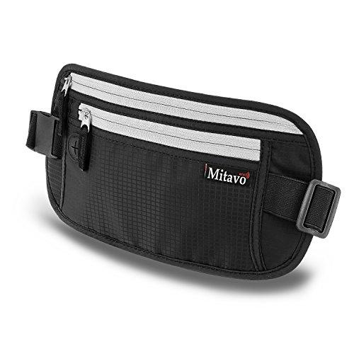 Mitavo cinturón de viaje plano con bloqueo RFID, impermeable y transpirable, riñonera...