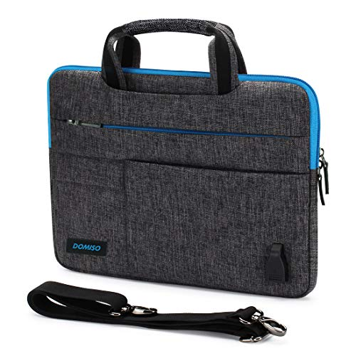 DOMISO 10,1-10,5 Pulgadas Funda Protectora con Puerto de Carga USB Bolsa Bandolera Maletin para Ordenador Portátil/Tablet / 9.7' iPad Pro / 10.1' Lenovo Tab 4 Plus/ASUS/Acer/HP,Cremallera Azul