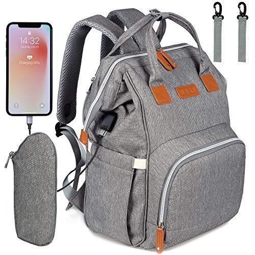 NEVEQ Mochilas de Pañales para Bebé, Maternal Bolso Multifuncional con USB de Viaje, Gran Capacidad, Impermeable (Gris)
