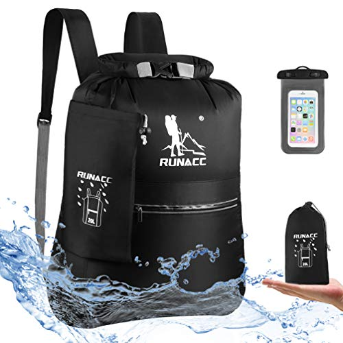 RUNACC Mochila Impermeable 20 L Flotante, con Funda Impermeable para teléfono móvil, para Playa,...