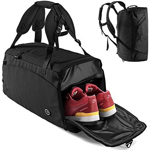 Bolsa Deporte Fitness + Mochila Función y Compartimento para Zapatos: Separada Seco y Humedo | 40L Deportivo Viaje Gimnasio Natacion Fin de Semana Travel Duffle Bag Equipaje Mano Negro | Hombre Mujer
